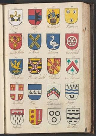 Pagina met enkele wapenafbeeldingen in de Nieuwe kerk te Middelburg. Opgenomen in het register met wapenafbeeldingen in de Middelburgse kerken in 1793. Verzameling Handschriften en Aanwinsten Gemeentearchief Middelburg, 1692-1999, inv.nr 1982.20.