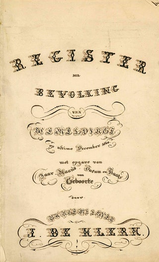 Burgemeester Jan de Klerk van Wemeldinge maakte een fraai titelblad voor het bevolkingsregister 1860-1869 (Archief gemeente Wemeldinge 1583-1969, toegang 4003, inv.nr 1068).