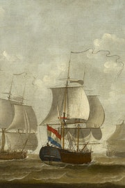 Snauwschepen Painting depicting ships of the Middelburgse Commercie Compagnie by artist Engel Hoogerheyden from Middelburg (1740-1807). Oil on canvas, 111×245,5 cm. Stadhuiscollectie Middelburg, inv.nr 65.van de Middelburgsche Commercie Compagnie - Engel Hoogerheyden