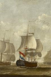 Snauwschepen Painting depicting ships of the Middelburgse Commercie Compagnie by artist Engel Hoogerheyden from Middelburg (1740-1807). Oil on canvas, 111×245,5 cm. Stadhuiscollectie Middelburg, inv.nr 65.van de Middelburgsche Commercie Compagnie - Engel Hoogerheyden