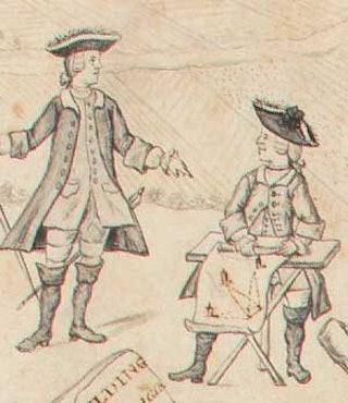 De Hattinga-broers aan het werk. Afbeelding uit het randwerk van de kaart van Walcheren. Zeeuws Archief, Verzameling De Waard, inv.nr 117