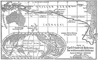 Kaart waarop de route van Roggeveen is aangegeven