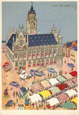 De markt in Middelburg, geïllustreerde prentbriefkaart uit 1957. Zeeuws Archief, HTAM-623