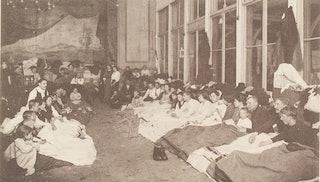 Het Schuttershof te Middelburg als slaapplaats ingericht voor de vluchtelingen uit België