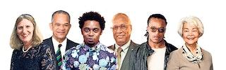 Collage van portretten van zes mensen.