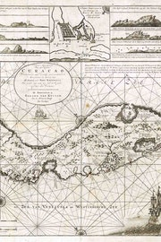 Plattegrond van het eiland Curacao, met afbeeldingen van aanzichten van het eiland zoals het te zien was aan boord van een schip.