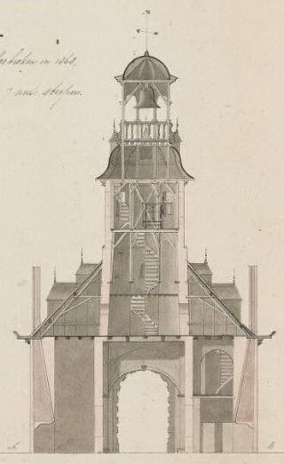Doorsnede van de Vlissingsepoort, tekening. Zeeuws Archief, Zelandia Illustrata II-363b