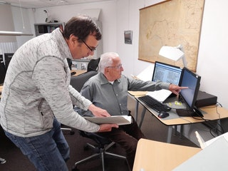 Leo met vrijwilliger Piet Dekker.