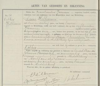Geboorteakte van Esther (Etty) Hillesum, 15 januari 1914. Zij werd op 17 januari 1914 in het geboorteregister van Middelburg ingeschreven. Zeeuws Archief, Burgerlijke Stand Middelburg, geboorten 1914.