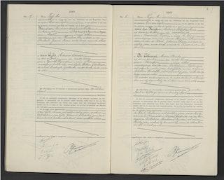 Huwelijksakte Franciscus Hemelaar en Adriana van Gils, 5 mei 1945. Zeeuws Archief, burgerlijke stand, huwelijksregister Sas van Gent 1945.