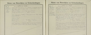 Zeeuws Archief, Genealogisch Centrum Zeeland, Fotocollectie, nr 51. Detail van de huwelijksakte van Krijn Berrevoets en Helena Boot, gehuwd te Zierikzee 18 oktober 1929.