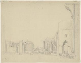 Afbraak St. Pieters- of Oude Kerk Middelburg 1834. Zeeuws Archief, Zelandia Illustrata II-0595