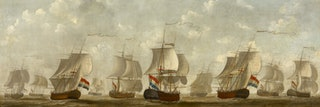 Een tiental zeilschepen met bollende zeilen naast elkaar.
