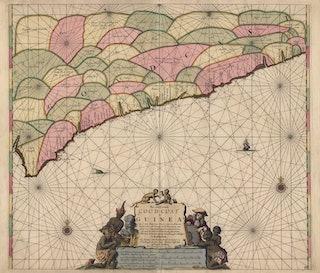 De kuststreek van Afrika is verdeeld in gekleurde vlakken, waarin is aangegeven welke handel in dit gebied gebeurt. Voor de kust zijn met een ankertje ankerplaatsen afgebeeld.