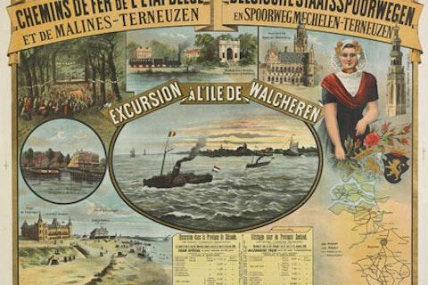 Reclameplaat Excursion à l'île de Walcheren. Zeeuws Archief, Zelandia Illustrata-III-1071