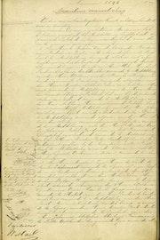Voorkant van een notariële akte, geschreven in pen.