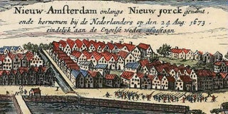 Nieuw Amsterdam of New York in een cartouche van een kaart uitgegeven in 1674 door Hugo Allard: Allard -Totius Neobelgii Nova et Accuratissima Tabula. Licensed under Public domain via Wikimedia Commons.