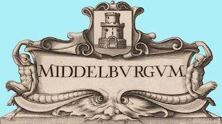 Cartouche met het wapen van Middelburg. Zeeuws Archief, detail uit Zelandia Illustrata I-307