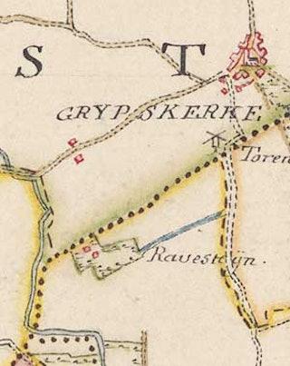 Hof Ravesteijn op de kaart van Hattinga, ca 1750. Collectie Zeeuws Archief.