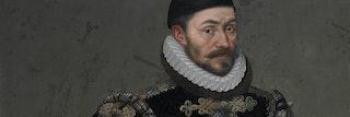 Schilderij van een man met een witte kanten kraag om zijn hals kijkt de kijker aan.