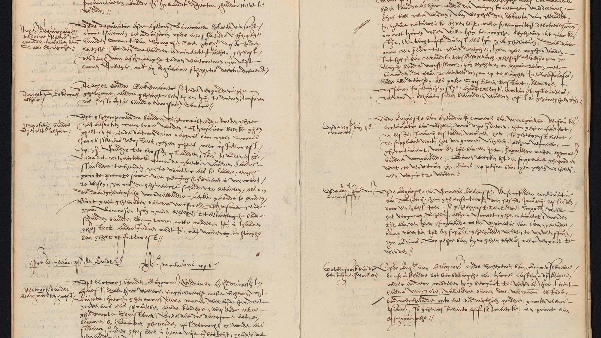 Pagina met besluiten van de Staten van Zeeland uit een register uit 1596.