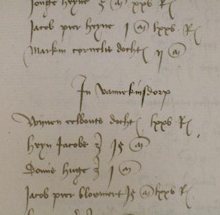 'Vannekinsdorp'. Detail van een pagina uit het kohier van de Schouwense duinpacht over 1465.