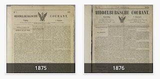 Twee voorpagina's van de Middelburgsche Courant.