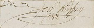 Handtekening van Johan Huyssen (1566-1634), heer van Kattendijke, Gecommitteerde Raad ter Admiraliteit in Zeeland. Zeeuws Archief, ZI-IV-0462