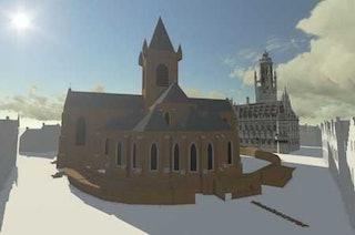 Reconstructie van de Westmonsterkerk op de Markt te Middelburg. Afbeelding: DigiWorld3D