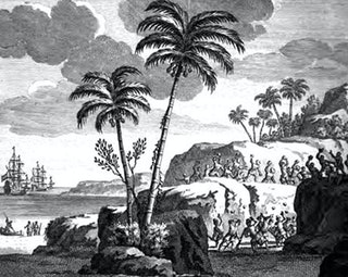 Geromantiseerde afbeelding van de bemanning van Roggeveen op Paaseilan