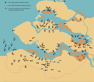 Overzichtskaart van de Zeeuwse verdronken dorpen.
