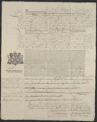 Papier deels ingevuld met de hand met inkt, deels bedekt met drukletters, in de marge het wapen van Amsterdam.
