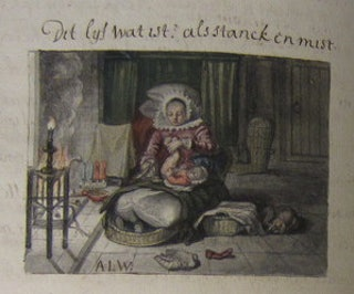 Pagina uit een handschrift naar de Eblemata van Johan de Brune de Oude (1588-1658). De afbeelding naar Adriaen van De Venne van de moeder die haar kind verschoont gaat vergezeld van de spreuk 'dit lijf wat ist als stank en mist'. Collectie: ZB, KZGW Handschrift 6410F.